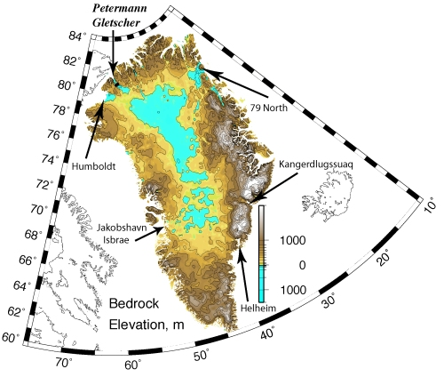 Greenland's bed-rock elevation from Bamber et al. (2003) digital elevation model based on remotely sensed surveys of the 1970ies and 1990ies gridded at 5 km resolution.