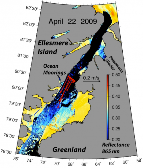 Largely ice-free Nares Strait on April 2009 with concurrent ocean velocity.