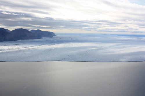 North-eastern section of Petermann Glacier on Aug.-11, 2012, the meandering river is the centerline, view is almost due east. [Photo Credit: Canadian Coast Guard Ship Henry Larsen.]