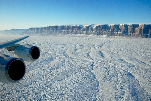 March-24, 2010 view of Petermann Glacier from NASA's DC-8 aircraft. Photo credit goes to Michael Studinger of NASA's IceBridge program.
