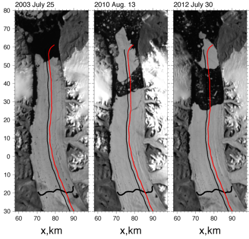 Petermann Gletscher in 2003, 2010, and 2012 from MODIS Terra in rotated co-ordinate system with repeat NASA aircraft overflight tracks flown in 2002, 2003, 2007, and 2010. Thick black line across the glacier near y = -20 km is the grounding line location from Rignot and Steffen (2008).