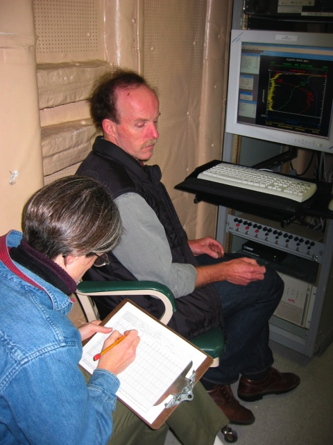 Drs. Humfrey Melling and Kelly Falkner working in Baffin Baffin Bay aboard the USCGC Healy in 2003. [Photo Credit: Andreas Muenchow]