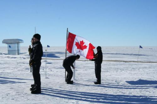 A memorial ceremony for the aircrew at NSF's Amundsen-Scott South Pole Station [Photo Credit: Blaise Kuo Tiong, NSF]