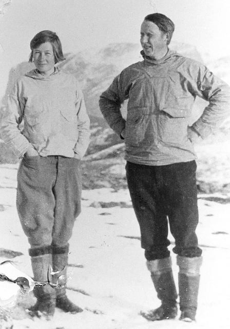 Frederica de Laguna with Therkel Mathiassen in 1929 near Upernavik, Greenland. [From Bryn Mawr College's Collections