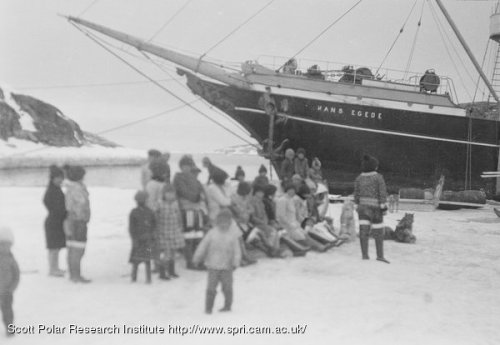 Inuit women and children visiting the Hans Egede in Greenland in 1930. [From Cambridge University]