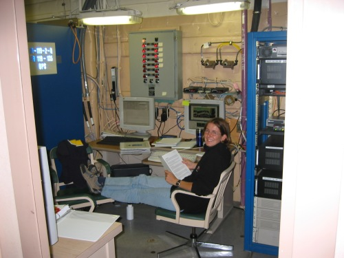 Dr Helen Johnson on acoustic Doppler current profiler (sonar to measure ocean velocity) watch aboard the USCGC Healy in Baffin Bay in 2003. [Photo credit: Andreas Muenchow]