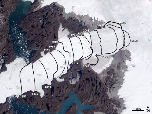 The evolution of Jacobshavn Isbrae retreat from 1851 through present. [From NASA's Earth Observatory]