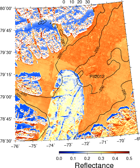 Surface reflectance at 865 nm at the southern entrance to Nares Strait on March-4, 2013. Contours are 200-m bottom depth showing PII2012 grounded at the north-eastern sector of the ice arch.