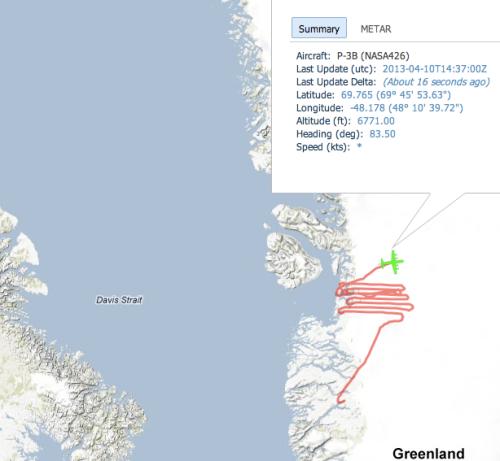Locations of NASA's P3 air plane near Jacobshavn Isbrae on April-10, 2013.