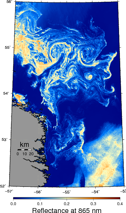 Ice in the Labrador Current as seen by MODIS-Terra on May 3, 2013.