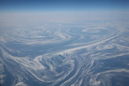 Ice fields seen in Labrador Current April 6, 2008 from a plane. [Photo Credit: Daniel Schwen]