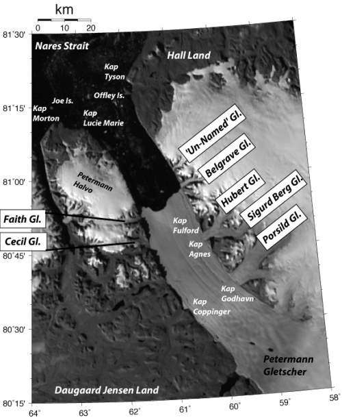 Names of glaciers, capes, islands in Petermann Region over MODIS of Aug.-21, 2012.