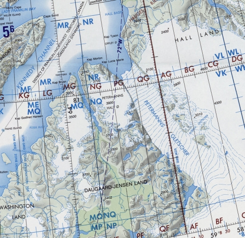 Petermann Gletscher and surroundings extracted from U.S. Defense Mapping Agency Chart ONC A5 (January 1991).