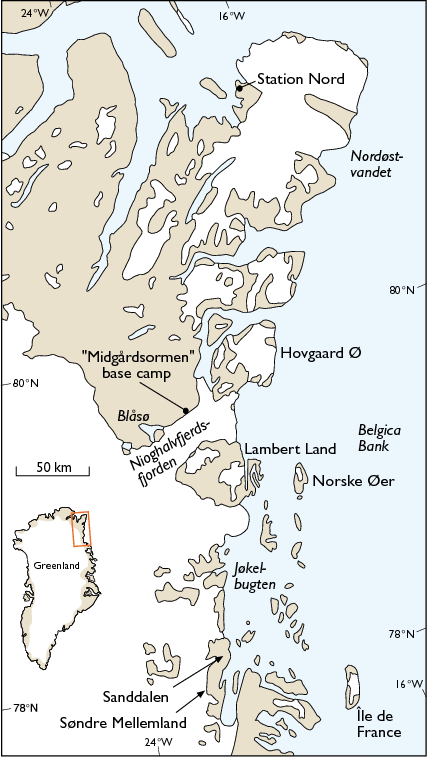 Map of North-East Greenland [From: Bennike and Weidick, 1999, Geology of Greenland Survey Bulletin, 183, 57-60.]