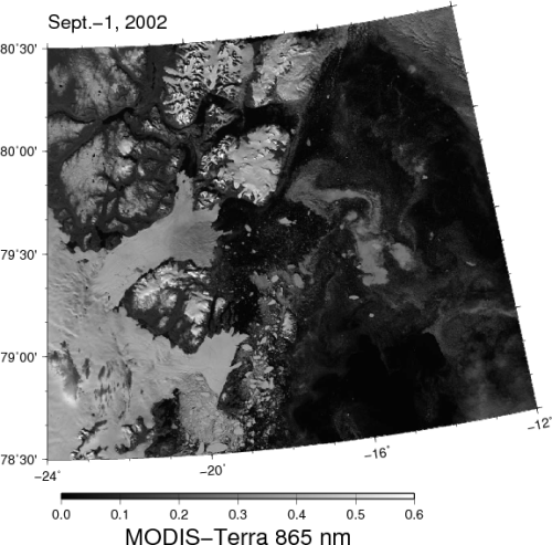 North-east Greenland: 79N Glacier and Zachariae Isstrom in 2002.