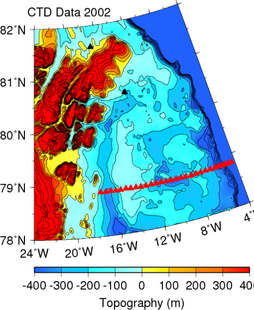 Map of North-East Greenland showing land elevations in red and yellow and bottom depths in blue. Data are  from IBCAO-2 and contoured in 100-m intervals.