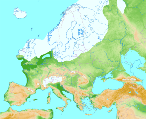 Europe during the last ice age about 50,000 years before present when a massive ice sheet covered much of Scandinavia, Britain, and the Baltic. Note that North Germany and Denmark are ice-free in the west, but ice-covered in the east. [From WikiPedia]