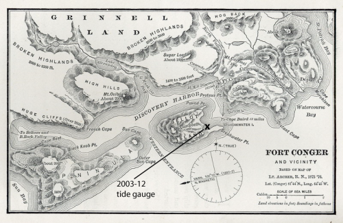 Detailed map of Fort Conger and its environ from an original 1875 drawing.