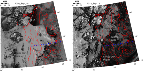 Visible MODIS imagery of the study area at 250 m resolution showing 79N and Zachari\ae\, Glaciers, Norske \O re Trough, and Belgica Bank for Sept.-2009 (left) and Sept.-2013 (right). Mountains are naturally illuminated by low sun angles. Red contours are 100, 200, and 300 m bottom depths. Blue symbols show 2002 and 2005 science stations.