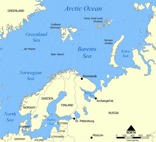 Location map of Barents Sea. [From WikiPedia.org]