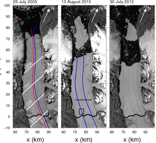 Petermann Gletscher through calving events. White lines show ICESat tracks; red (ambient ice shelf) and blue (central channel) show repeat-track airborne surveys.
