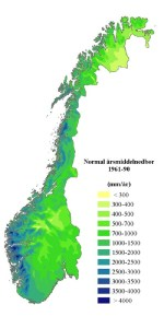 Annual mean precipitation, Norway.  [From Met. Office]