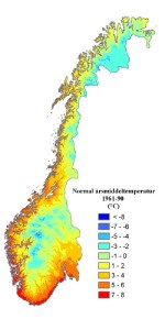 Annual mean temperature, Norway.  [From Met. Office]