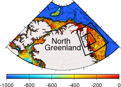 Map of North Greenland with shallow (red/yellow) and deep (blue) oceans. Future study area are black boxes on the continental shelf of north-east Greenland.