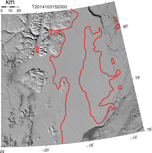 "Ice-covered coastal waters off northeast Greenland April 14, 2014. Red contour indicates 100-m water depth. The ""horseshoe"" shaped red island is Belgica Bank with Norske Oer Trough to its south-west."