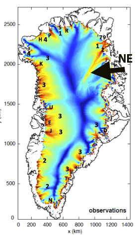 Speed of Greenland's ice sheet movements. NE indicates the fast-moving (red) North-East Greenland Ice Stream with 3 branches connecting it to the ocean. [From Mauri Pelto's blog]