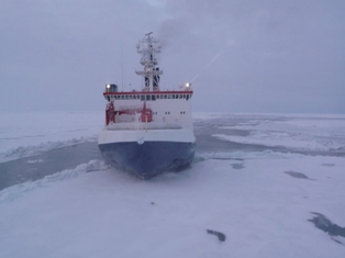 R/V Polarstern in Arctic ice 2008. [Credit: Alfred-Wegener-Institute,  Bremerhaven]