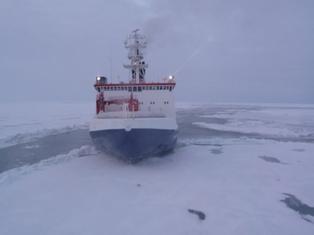 R/V Polarstern in Arctic ice 2008. [Credit: Alfred-Wegener-Institute,  Bremerhaven]