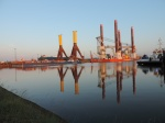 Construction of offshore wind power systems in port of Bremerhaven.