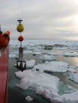 AcousticDoppler Current Profiler mooring deployment in Nares Strait from aboard the CCGS Henry Larsen in 2009.