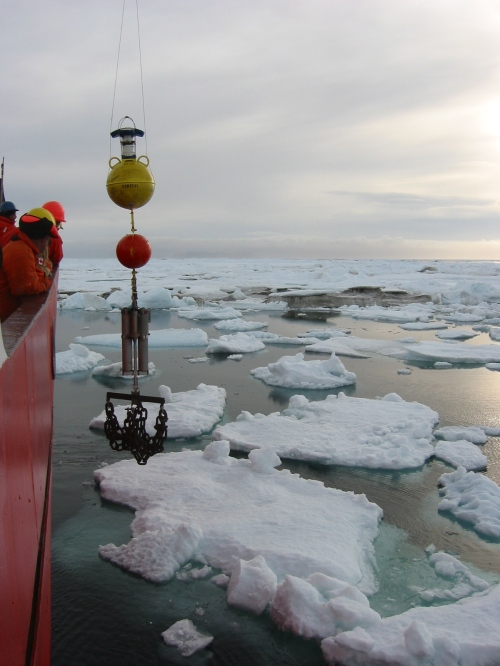 Acoustic Doppler Current Profiler mooring deployment in Nares Strait from aboard the CCGS Henry Larsen in 2009.