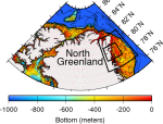 Bottom topography around North Greenland with reds and yellow indicating shallower continental shelf areas.