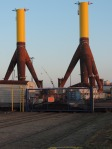 Bottom pilings of wind power systems to be deployed offshore.
