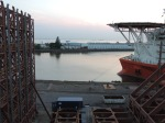 View across the harbor from the C-deck of FS Poalrstern in dry dock in Bremerhaven.