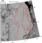 Belgica Bank and Norske Trough near 79 Glacier on the north-east shelf of Greenland   as seen by MODIS Terra on May-27, 2014.