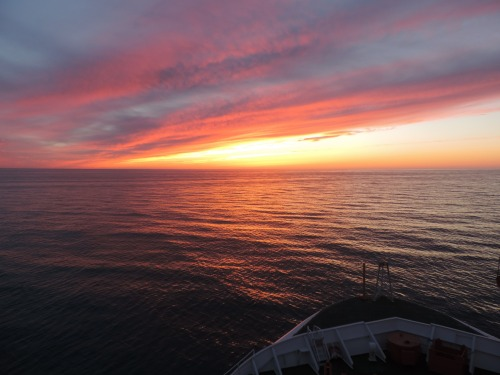 Sunset over the North Sea heading to north-east Greenland.