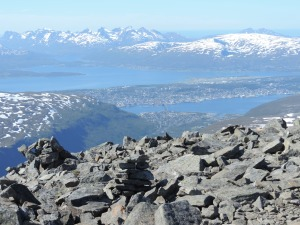 View to north from Tromsdalstinen with Barents Sea in the background and Tromso in the center
