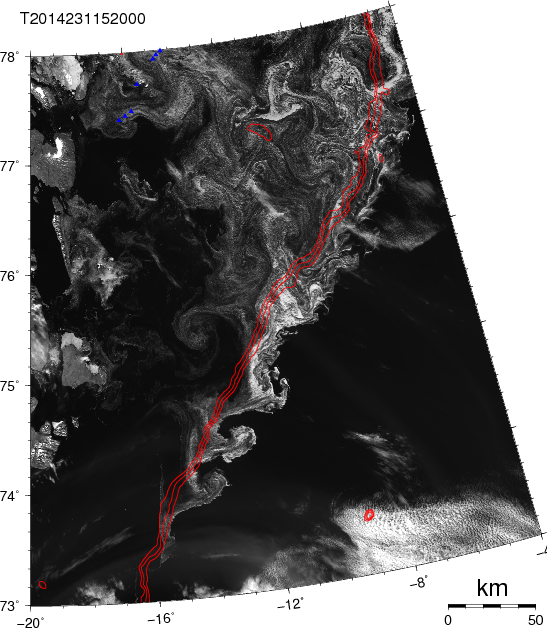 Satellite image ocean current instabilities on Aug.-19, 2014 as traced by ice along the shelf break, red lines show 500, 750, and 1000 meter water depth. Small blue triangles top left are ocean moorings.