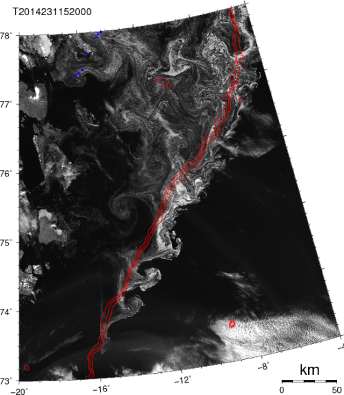 Satellite image ocean current instabilities on Aug.-19, 2014 as traced by ice along the the shelf break, red lines show 500, 750, and 1000 meter water depth. Small blue triangles top left are ocean moorings.