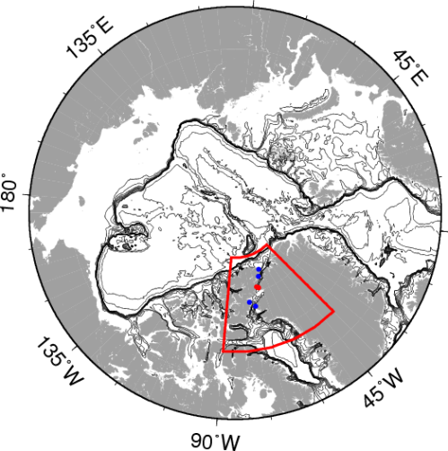 Arctic Ocean with Nares Strait study area (red box) with tide gauge locations as blue symbols and section of moored array as red symbol. Contours are bottom topography that emphasize ocean basins and continental shelf areas.