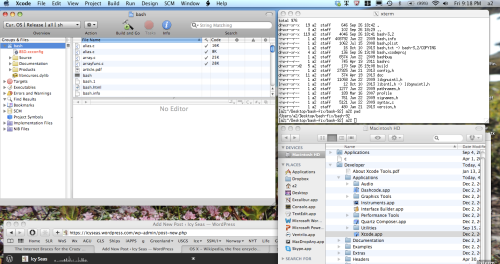 Screenshot of compiling patched bash.xcodeprof using XCode.app