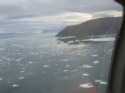 Discovery Harbor off Fort Conger, Ellesmere Island as seen from helicopter in 2012.