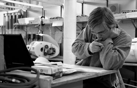 The author working at sea in 2003 or 2004. [Photo credit: Chris Linder, WHOI]