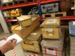 One of three crates ready for shipment to the ship. Notice the organizing hand of Dr. Celine Heuze bottom right.
