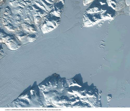 Floating section of 79N Glacier in north-east Greenland as seen from LandSat in march 2014.