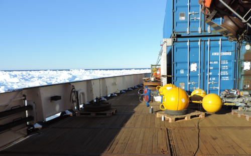 Two ocean sensor packages ready for deployment near Isle de France, Greenland 10 June 2014.